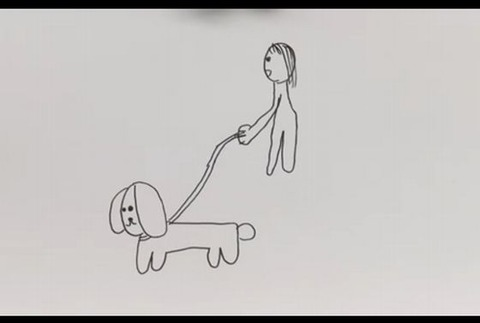 藤田綾画伯の犬の散歩のイラスト